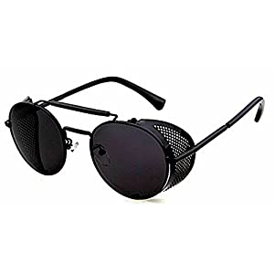 Vintage/Retro Sunglasses Black/Black Round Frame Metal Side Shield + 3Accessories