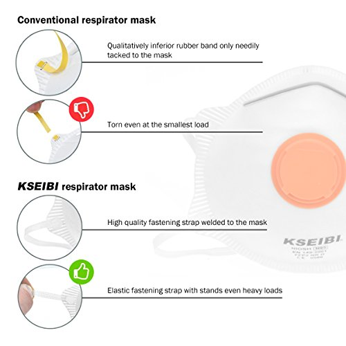 KSEIBI 391015 Safety Particulate Respirator N95 Series W Valve and Adjustable Foam Nose Cushion Dust Mask (15 Pack) by KSEIBI (Image #5)