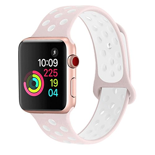 iisBands Sport Watch Band Compatible Apple Watch Band 42mm 38mm Series 3 Series 2 Series 1 and Nike+ Sport, Soft Silicone Strap Replacement Wristbands (42MM S/M, Pink/White)