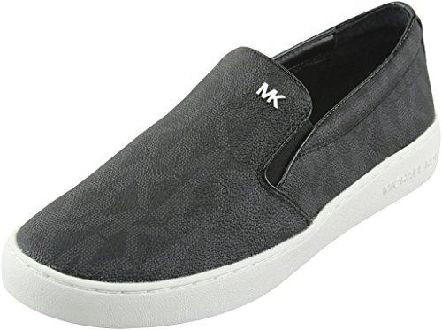 MICHAEL Michael Kors Women's Keaton Slip-On Black MK Sig PVC Sneaker 8.5 M