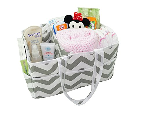 Mini Rabbit Mobile Phone - 100% Cotton Diaper Caddy Organizer by SimpleShoppers - Storage Bag Organizer Great For Car Travel and Gift Registry | Caddies Gray Storage Basket | Clean Easy Chevron Gray