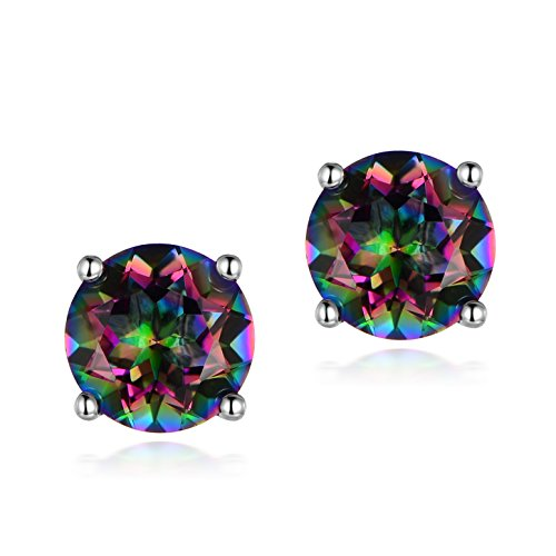 OPALTOP 18K White Gold Plated Natural Rainbow Gemstone Mystic Quartz 8MM Stud Earrings For Women (natural rainbow stone)