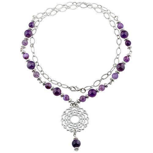 - TUMBEELLUWA Beads Necklace Crystal Healing Quartz Chakra Symbol Energy with Alloy Charm Stone Jewelry,Amethyst