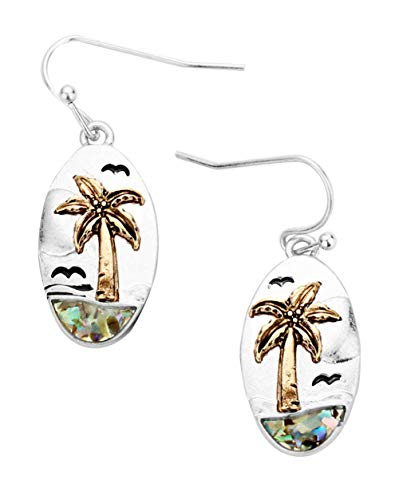 (Beach Scene Gold-Tone Silver-Tone Faux-Shell Palm Tree Sea Gulls Sun & Ocean Oval Dangle Earrings 1 3/8