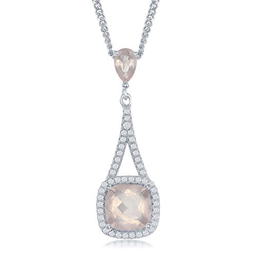 (Sterling Silver High Polish Pront-Set Square Amethyst or Pink Sapphire with White Topaz Border 17+3