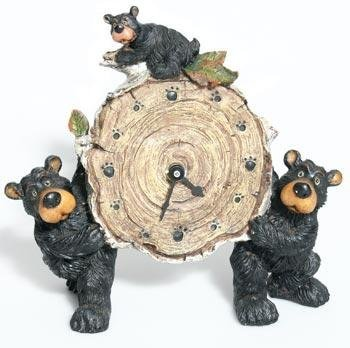 Willie Black Bear with Cub Holding a Birch Log Clock 8