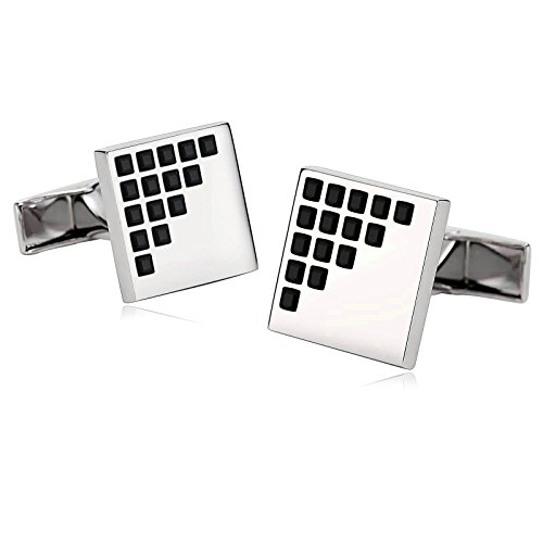 Beydodo Cufflinks Stainless Steel Black Wedding Cufflinks Silver Black Square Lattice Zirconia by Beydodo