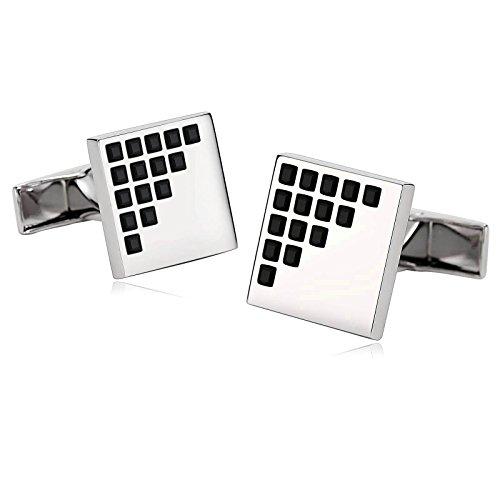 Beydodo Cufflinks Stainless Steel Black Wedding Cufflinks Silver Black Square Lattice Zirconia by Beydodo