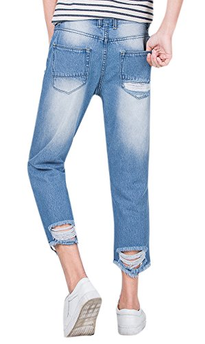 Men S Distressed Light Wash Ripped Slim Fit Ankle Cropped