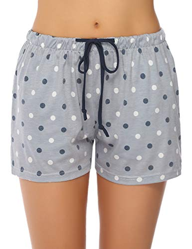 Shorts Cotton Sleep Shorts Polka Dot Lounge Boxer with Pockets Gray M ()