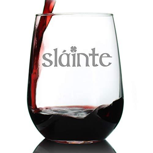 Slainte - Irish Cheers - Funny St Patricks Day Party Stemless Wine Glasses - Saint Patty's Decorations]()