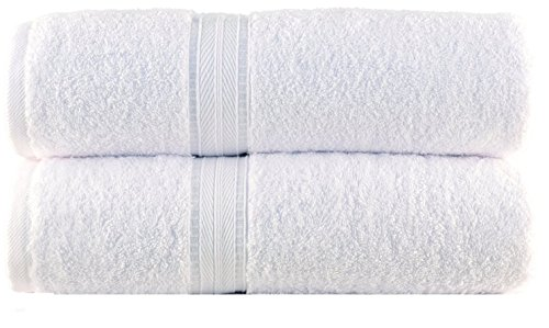 White Cotton Superabsorbent Bath Towel Set of 2 Pcs For Gym/Bathroom/Pool/Spa…