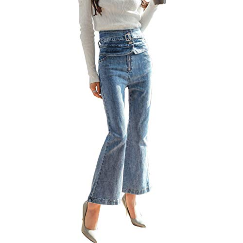 RXF Femme Taille Haute Neuf Points Jeans Slim Thin Pants Stretch Jeans Bleu