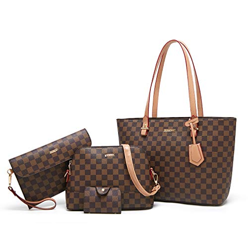 - ELIMPAUL Women Fashion Handbags Tote Bag Shoulder Bag Top Handle Satchel Purse Set 4pcs (brown-B)