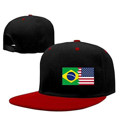 259756_Cap Brazil USA Flag Baseball Caps, Unisex Adjustable Hip Hop Flat Bill Baseball Dad Cap