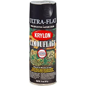 Krylon K04290007 Camouflage Made with Fusion For Plastic Paint Technology Spray Paint, Black, 11 Ounce