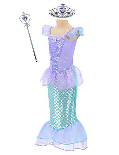 Little Mermaid Princess Ariel Costume for Girls Dress Up Party with Crown Mace (M,110cm) -