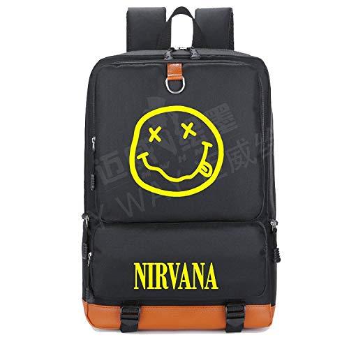 Amazon.com: 2018 Nirvana Smiley Face Kurt Cobain Rock in Utero Backpack Teenage Women Student School Bag Men Travel Shoulder Laptop: Kitchen & Dining