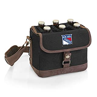 PICNIC TIME NHL New York Rangers 6-Bottle Insulated Beer Caddy with Integrated Bottle Opener, Black
