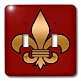 3dRose LLC lsp_30760_2 Large Black and Gold Fleur De Lis on Maroon Background Christian Symbol - Double Toggle Switch