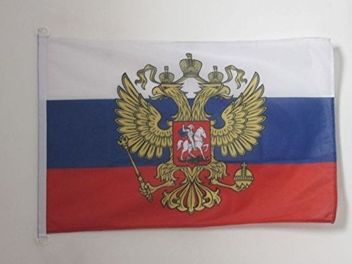 AZ FLAG Russia with Eagle Flag 3' x 5' External Use - Russian Coat of arms Flags 90 x 150 cm - Banner 3x5 ft Knitted Polyester with Rings