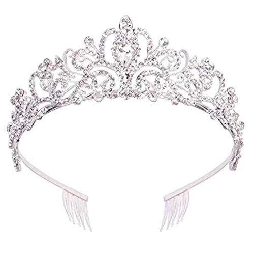 Wedding Bridal Crystal Tiara Crowns Princess Queen Pageant Prom Austrian Stunning Rhinestone Veil Tiara Comb Headband Wedding Hair Piece Accessory