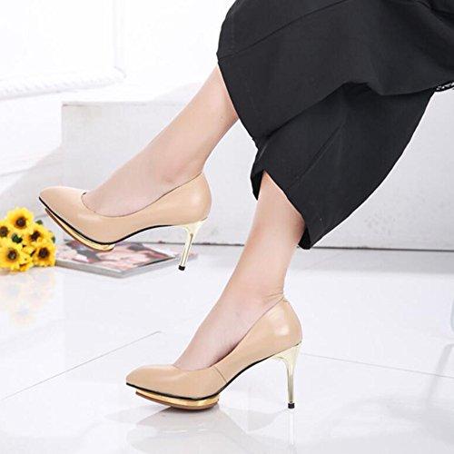 Plataforma Señoras Mujer Altos Trabajo Zapatos Zapatos Impermeable De Talón R OL Del De El Sexy La 10cm Cuero Con Apricot Tacones Summer Para Señalaron Partido YR El Real 0x5Rgw6x