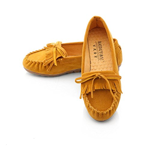Tenworld Women Driving Shoes Slip On Comfort Casual Flat Loafers Shoes (8, Gold) - Signature Travel Wipes
