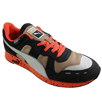 46bb06990cb0ed Mens Puma RS 100 RS100 Speckle Navy Orange Retro Running Trainers Shoes UK  9.5  Amazon.co.uk  Shoes   Bags