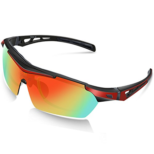 Torege Polarized Sports Sunglasses For Cycling Running Fishing Golf TR90 Unbreakable Frame TR003 (Black&Red)