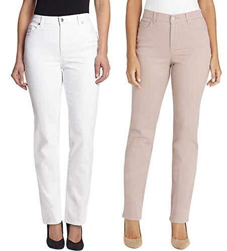 Gloria Vanderbilt Ladies' 2 Pack Bundle Amanda Jeans, Crystal White & Wood Rose (22W Average)