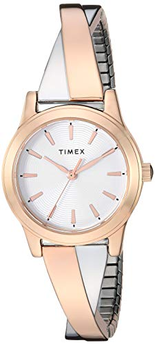 (Timex Women's TW2R98900 Stretch Bangle Crisscross 25mm Rose Gold-Tone Expansion Band Watch)