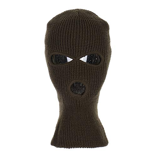 Knitted 3-Hole Full Face Cover Ski Mask (Olive)