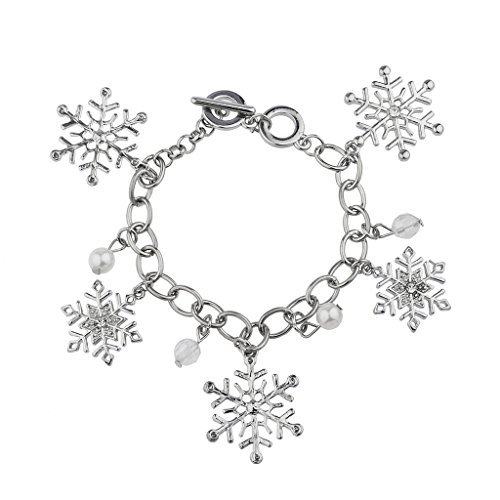 Lux Accessories Silvertone Holiday Winter Wonderland Snowflake Charm Bracelet