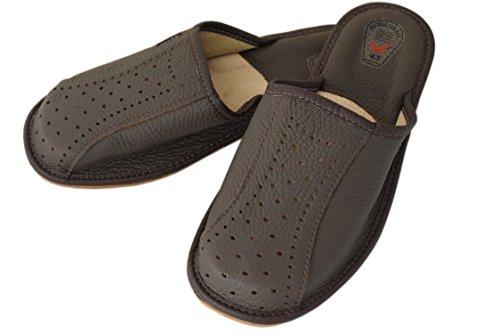 Natleat Slippers  Natural Leather Mens Slippers,  Jungen Herren Durchgängies Plateau Sandalen mit Keilabsatz Brown / 4