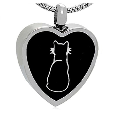 - M2B Cremation Jewelry Cat Pet Silver Memorial Urn Necklace Jewellery Ashes Keepsake Pendant Stainless Steel Funeral