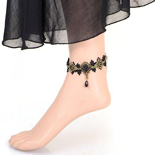 Cameleon-Shop - Parure de Cheville Bracelet - Dentelle Noire - Aile Cuivrées CZ Noire - Réglable de 20 à 27 cm - Edition Limitée