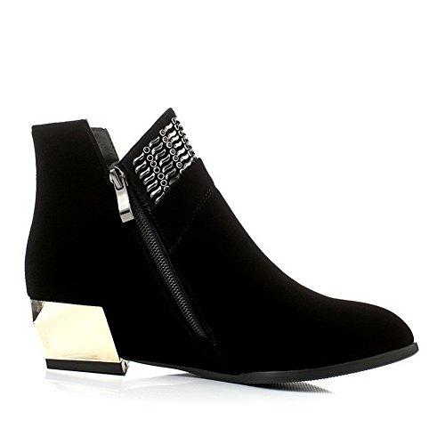AllhqFashion Damen Ziehen auf Rein Niedrig-Spitze Stiefel mit Reißverschluss, Schwarz, 34