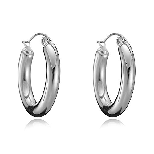 mika 18k Gold Plated Hoop Earrings 4mm Tube Classic Polished Hoop Earrings for Women Girls (Silver)