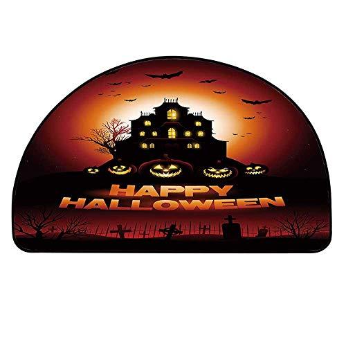 YOLIYANA Halloween Half Round Door Mat,Happy Halloween Haunted House Flying Bats Scary Looking Pumpkins Cemetery Decorative for Indoor Outdoor,35.4