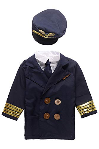 (Hao Kaos Kids Role Play Kit Set: Child Construction Worker Pirate Flight Attendant Dress Up Costume Airline Pilot Suit (Airline)