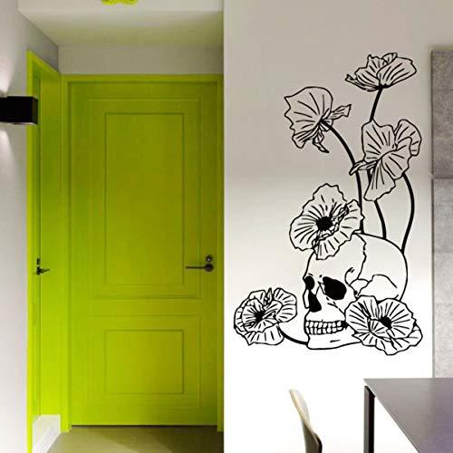 Wall Vinyl Decal Skull Poppies Dangerous Flowers Sticker Art Interior Decor 22 Inches
