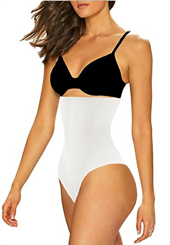ShaperQueen 102 Thong - Women Waist Cincher Girdle Tummy Slimmer Sexy Thong Panty Shapewear (XL, White)