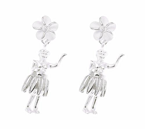 925 Sterling silver Hawaiian hula girl dancer plumeria flower cz post stud (Spirit Dancer Earrings)