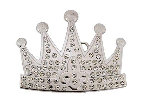Crown Belt Princess (Men Women Crown Prince Royal Princess Kings Emperor Gothic Tribal Belt Buckles. (Royal Rhinestone Silver Size: 4.0