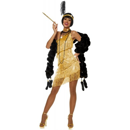 Candy Apple Costumes - COSTUME DAZZLING FLAPPER - GOLD, Small
