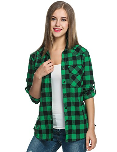 [Zeagoo Women's Roll Up Sleeve Casual Loose Boyfriend Plaid Button Down Shirt (Small, Green)] (Green Plaid Flannel Shirt)