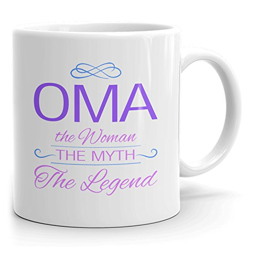 Oma Coffee Mugs - The Woman The Myth The Legend - Best Gifts for Women - 11oz White Mug - Purple