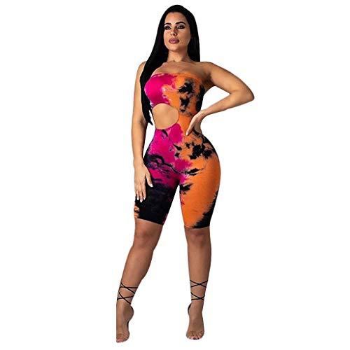 Women Summer Casual Elegants Print One Shoulder Halter Sleeveless One-Piece Trousers Jumpsuit Hot Pink