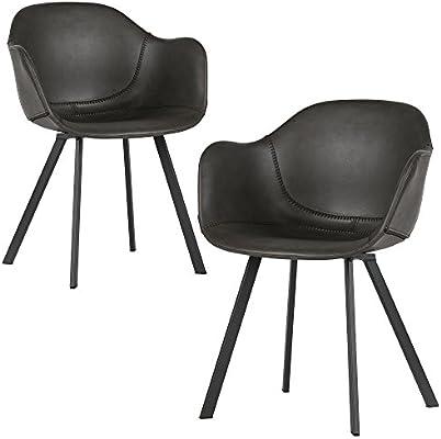 Esszimmerstuhl Set Esszimmer Grau 2er Stuhl Kunstleder Freek dCxBeo